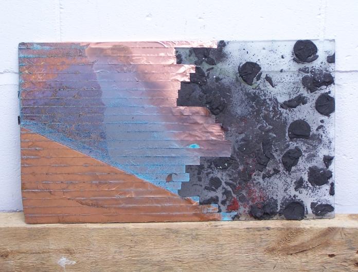 copper foil, graphite ice on glass, 2012