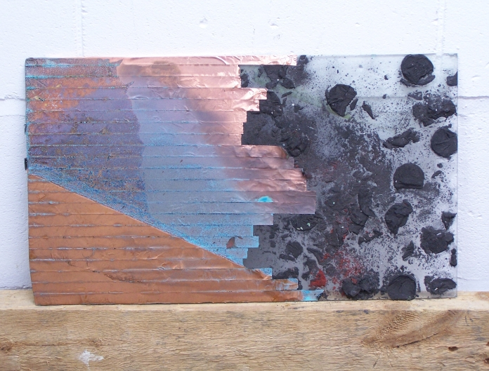 copper foil, graphite ice on glass, 2012