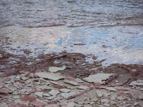 documentation of clay happening, estuary mud on terracotta clay, 2007