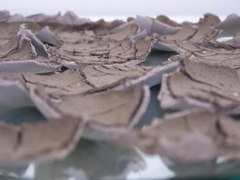 estuary mud on grey clay on mirror, 2007
