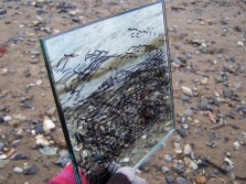 from the series 12 minutes, pen on mirror, 2007