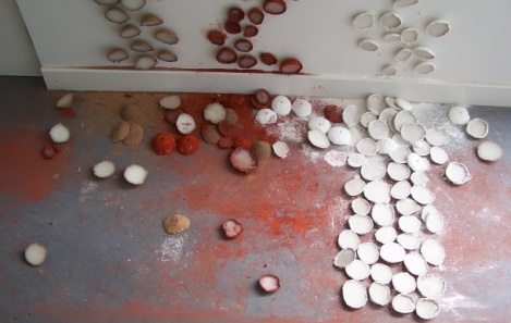 rounds, detail 4, pigment, sand and wax, Aber 2010